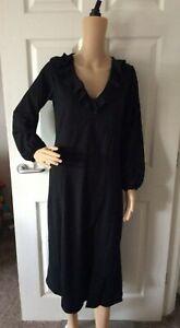 Bnwt Wallis Ruffle Neck Crinkle Dress - Black - Size 10 or 16