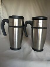Starbucks 2xSilver Stainless Steel Tumbler Cup 16 Oz 2001! Made Indonesia!