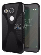 Black Soft X Line Rubber Gel TPU Silicone Case Skin Cover For LG Google Nexus 5X