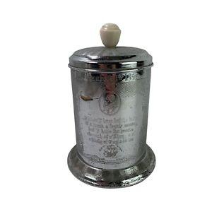 Vintage Elizabeth II Coronation Silver Metal Tea Caddy