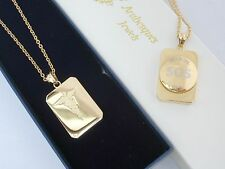 """26"""" SOS NECKLACE/PENDANT MEDICAL ALERT/EMERGENCY/STAINLESS STEEL TALISMAN GOLD"""
