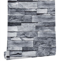 6m 3D Rustic Grey Brick Wallpaper Self Adhesive Wall Stickers Bedroom Kitchen