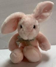 "Russ Berrie ""Lullaby Bunnies"" Plush Pink Bunny Bow 13"" Stuffed Animal Rare"