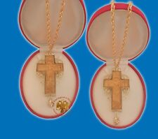 Orthodox Double Sided Wooden Cross Gold Plated - Cross for Priest 13x9cm