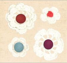 RAGAMUFFIN CROCHETED FLOWERS w/BRADS scrapbooking 99 CENT SALE!
