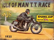 Vintage Garage, 37 AJS Motorcycle, Old Isle of man TT Race Medium Metal Tin Sign
