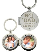 No1 Dad Personalised Photo Keyring - Free Engraving  - Father's Day Gift