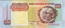 B040 WORLD COLLECTOR NOTES RARE ANGOLA 1000 KWANZAS 1991 SIGNATURE 17 BEAUTIFUL