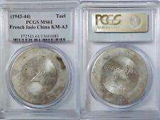 Rare Silver 1943-1944 French Indo China Tael, KM-A3 L&M-435 Lec-325 PCGS MS61