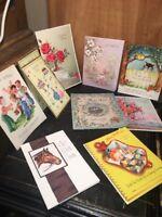 10 Vintage Greeting , Get Well Cards Floral,horse, Birds. No Envelopes. #4