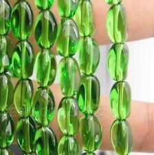 30pcs green Charm Oval Glass Bead Twist Loose Beads 10x6mm