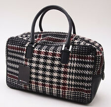 NWT $2390 KITON Black-White-Burgundy Check Cashmere and Leather Purse Handbag