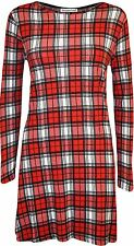 New Womens Long Sleeve Printed Swing Dress Plus Size Hanky Hem Dress 8-22