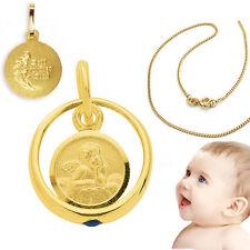 Gott schütze Dich Gold 333 Jungen Safir Taufring mit Engel und Kette Silber 925