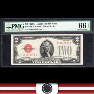 1928-G $2 LEGAL TENDER * RED SEAL* PMG 66 EPQ Fr 1508  E06958905A
