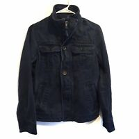 Hollister Men's Denim Jeans Jacket Dark Blue Zip & Button Closure Size S