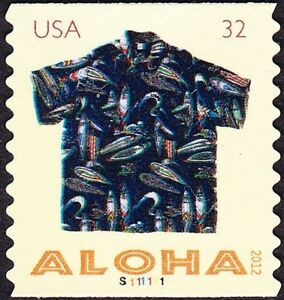 US - 2012 - 32 Cents Aloha Hawaiian Shirt #4599 Plate Single #S11111 Nice Cancel