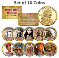 FAMOUS NATIVE AMERICANS Colorized Sacagawea Dollar 10-Coin Complete Set INDIANS