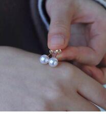7.5~8mm High luster Japanese Seawater Akoya pearl 18K gold Elegant Earring/Stud