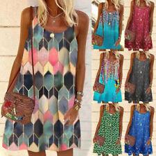 Summer Women Casual Crew Neck Sleeveless Sling A-Line Floral Loose Slip Dress