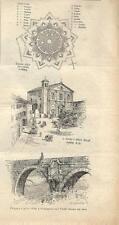 Stampa antica PALMANOVA insieme di tre vedute Udine 1895 Old antique print