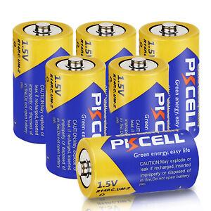 Size C Batteries 1.5V R14P E93 PC1400 Zinc-Carbon for Flashlights Count 6