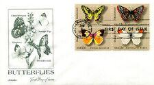 PREMIUM CACHETED 1977 Butterflies se-tenant block of 4 FDC