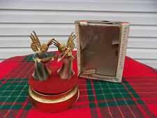 Vintage Christmas Music Box Angels Playing Instruments Plays Silent Night In Box