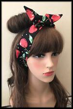 Red Cherry Headband Bandana Hairband Scarf Hair Tie Band Black Fabric Dress