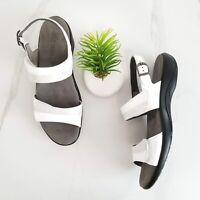 SAS Nudu Heel Strap Sandals White Silver Leather Slingback Shoes Womens 8.5 N