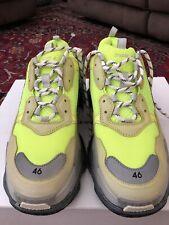 5ff356f98486 NIB Balenciaga Triple S Sneaker Neon Yellow Grey Speed Flat Trainer 46 Men  US 13