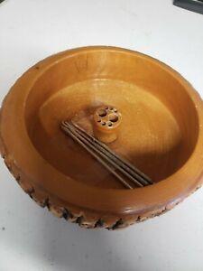 Vintage Tree Bark Nut & Fruit Bowl Holder w/4 utensils/picks