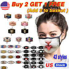 Funny 3D Printed Face Protective Mouth Face Mask Reusable Washable US Men Women