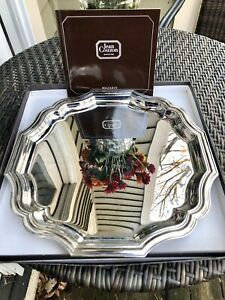 """Vintage Jean Couzon France 13"""" Round  Tray.  Signed /Box Stainless Steel Mazarin"""