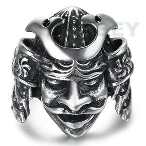 Men's Stainless Steel Ring Japanese Samurai Warrior Sterling Knight Gothic Biker