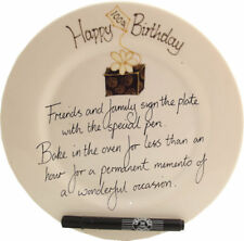 Personalised 100th Birthday Gift Signature Plate (Rd) (Box)