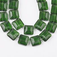 10pcs13mm Cute Square Faceted Glass Crystal Charm Loose Spacer Beads Grass Green