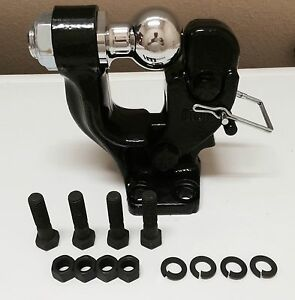 """3.5T BLACK PINTLE HOOK 2"""" BALL COMBO TRAILER TOW HITCH TOWING HEAVY DUTY"""