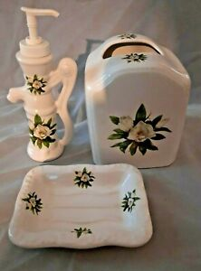 V B ATHENA Tissue Holder Soap Dish & Dispenser Magnolia Off White Vintage