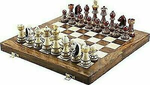 """Rajasthani Hand Painted Folding Chess Board Game Set 14"""" X 14"""""""