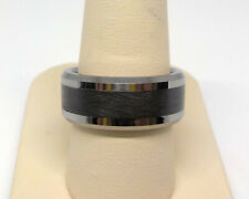 TRITON MEN'S 9.0MM BLACK CERAMC INLAY COMFORT FIT TUNGSTEN WEDDING BAND RING