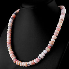 282.74 Cts Natural Untreated Pink Australian Opal Round Shape Beads Necklace