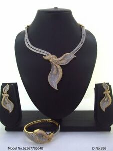 Indian Bollywood CZ AD Wedding Gold Fashion Jewelry Choker  Necklace Set Combo S