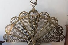 "Vintage Brass Peacock Fan Fireplace Screen Gargoyle, Torch & Woman 48"" #S78"