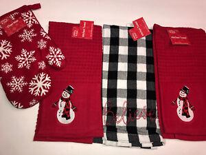 4 PC Christmas Holiday Kitchen Towel Snowman Snowflakes Buffalo Plaid Farmhouse