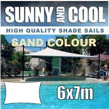 HEAVY DUTY SHADE SAIL-6x7M RECTANGLE IN SAND,6Mx7Mx6Mx7M,6mx7m,BEIGE.