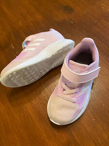Adidas Girls Pink Trainers Size 7.5 Infant Toddler Designer, Lovely Condition