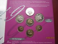 Hong Kong 1997 BUNC 7 Juego De Colección De Monedas: 10 centavos ~ $10 in (approx. 25.40 cm) Royal Mint Carpeta