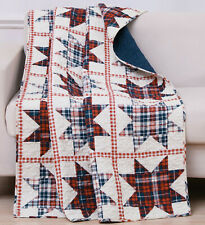 LIBERTY STAR 50x60 QUILT THROW : COUNTRY RED WHITE BLUE CHECK PRINT BLANKET