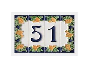 Italian Handmade Lemon Designed Ceramic Number, Letter Tiles & Frames